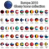 Coleção lustrosa dos ícones de Europa Fotos de Stock