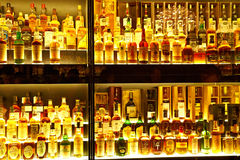A coleção a maior do uísque escocês no mundo Fotos de Stock
