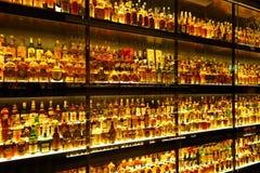 A coleção a maior do uísque escocês no mundo Imagens de Stock