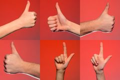 Cole??o masculina dos gestos e dos sinais de m?o isolada sobre o fundo vermelho Grupo de imagens m?ltiplas Parte da s?rie fotos de stock
