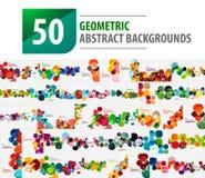 Coleção mega de 50 fundos abstratos geométricos criados com os testes padrões modernos - quadrados Fotos de Stock Royalty Free