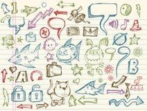 Coleção mega do vetor do esboço do Doodle Fotografia de Stock Royalty Free