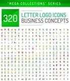Coleção mega enorme de ícones do negócio do logotipo da letra ilustração royalty free