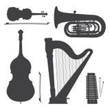 Coleção monocromática da ilustração das silhuetas dos instrumentos de música Imagem de Stock