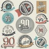 Coleção nonagésimo do aniversário do estilo do vintage. Imagens de Stock Royalty Free