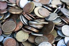 Coleção nova e do vintage do mundo de moedas Foto de Stock