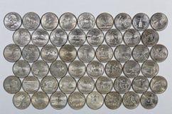 Coleção numismática de quartos comemorativos do Estados Unidos Imagem de Stock