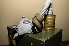 Coleção original de máscaras de gás soviéticas ex (de URSS) Imagem de Stock