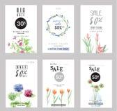 Coleção para bandeiras sociais dos meios, design web das bandeiras da venda, comprando em linha, cartazes ilustração royalty free