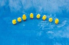 Coleção pequena do semi-círculo de pintainhos pequenos da Páscoa do brinquedo do bebê Fotografia de Stock