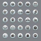 Coleção preta ajustada da ilustração do vetor dos ícones modernos na compra e no comércio eletrônico lisos do projeto isolados na Imagem de Stock Royalty Free