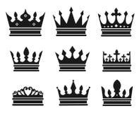 Coleção preta da coroa Imagens de Stock Royalty Free