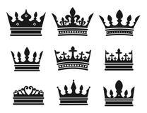 Coleção preta da coroa Imagens de Stock