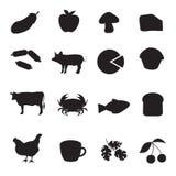 Coleção preta do ícone do tipo diferente de alimento Imagem de Stock Royalty Free
