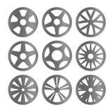 Coleção preto e branco isolada do logotipo das rodas da liga da cor, ilustração ajustada do vetor do logotype dos elementos do ca Imagem de Stock Royalty Free