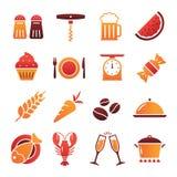 Coleção protegida colorida dos ícones do alimento Fotografia de Stock Royalty Free