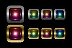 Coleção quadrada dos botões do vetor ilustração royalty free