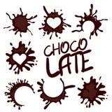 Coleção realística da gota de chocolate quente Foto de Stock