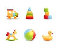 Coleção realística do ícone dos primeiros brinquedos do bebê Imagens de Stock Royalty Free
