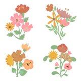 Coleção retro colorida da flor Fotos de Stock Royalty Free