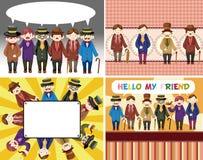 Coleção retro do cartão do cavalheiro dos desenhos animados Imagem de Stock