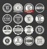 Coleção retro do crachá do aniversário, 10 anos Fotos de Stock Royalty Free