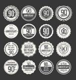 Coleção retro do crachá do aniversário, 90 anos Imagem de Stock Royalty Free