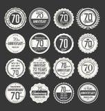 Coleção retro do crachá do aniversário, 70 anos Imagem de Stock Royalty Free