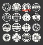 Coleção retro do crachá do aniversário, 70 anos Fotografia de Stock Royalty Free