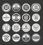 Coleção retro do crachá do aniversário, 60 anos Fotografia de Stock Royalty Free