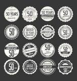 Coleção retro do crachá do aniversário, 50 anos Imagem de Stock Royalty Free