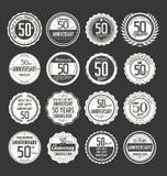 Coleção retro do crachá do aniversário, 50 anos Fotos de Stock