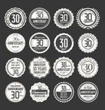 Coleção retro do crachá do aniversário, 30 anos Foto de Stock Royalty Free