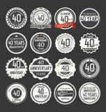 Coleção retro do crachá do aniversário, 40 anos Imagem de Stock Royalty Free