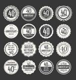 Coleção retro do crachá do aniversário, 40 anos Imagens de Stock