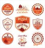 Coleção retro do crachá do vintage da bicicleta Fotos de Stock