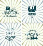Coleção retro do fundo do crachá do vintage da bicicleta Imagens de Stock