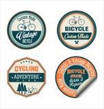 Coleção retro dos crachás e das etiquetas da bicicleta Foto de Stock