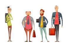 Coleção retro dos desenhos animados dos professores dos homens Fotos de Stock Royalty Free