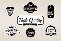 Coleção retro superior das etiquetas da qualidade & da garantia Foto de Stock