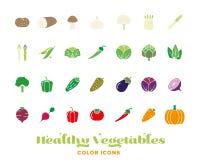 Coleção saudável do ícone da cor dos vegetais ilustração do vetor