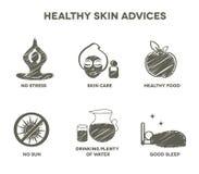 Coleção saudável do símbolo dos conselhos da pele ilustração royalty free