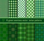 Coleção sem emenda do teste padrão verde da manta de tartã Fundo do vetor Fotos de Stock Royalty Free