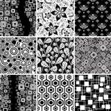 Coleção sem emenda preto e branco Foto de Stock
