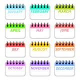 Coleção simples de ícones dos meses de calendário ilustração stock
