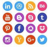 Coleção social do ícone dos meios Fotografia de Stock