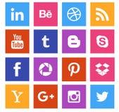 Coleção social do ícone dos meios Fotografia de Stock Royalty Free