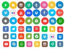 Coleção social do ícone dos meios Foto de Stock Royalty Free