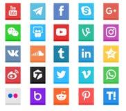 Coleção social do ícone dos meios Imagem de Stock Royalty Free