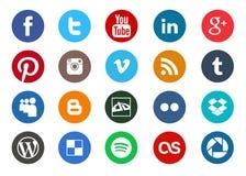 Coleção social redonda do ícone dos meios ilustração stock